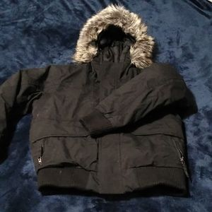 Boys Black w/fur Hood North Face Winter Jacket 7/8